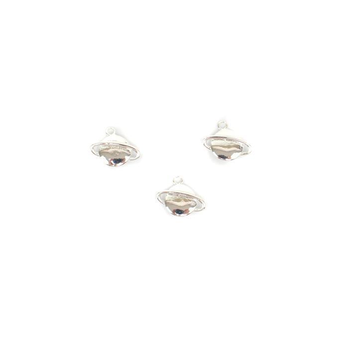 Silver Plated Base Metal Planet Charms, Approx 12x15mm (3pk)