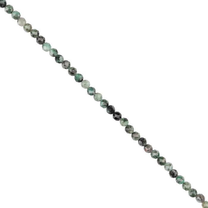 20cts Emerald Faceted Rounds Approx 3mm, 28cm Strand.