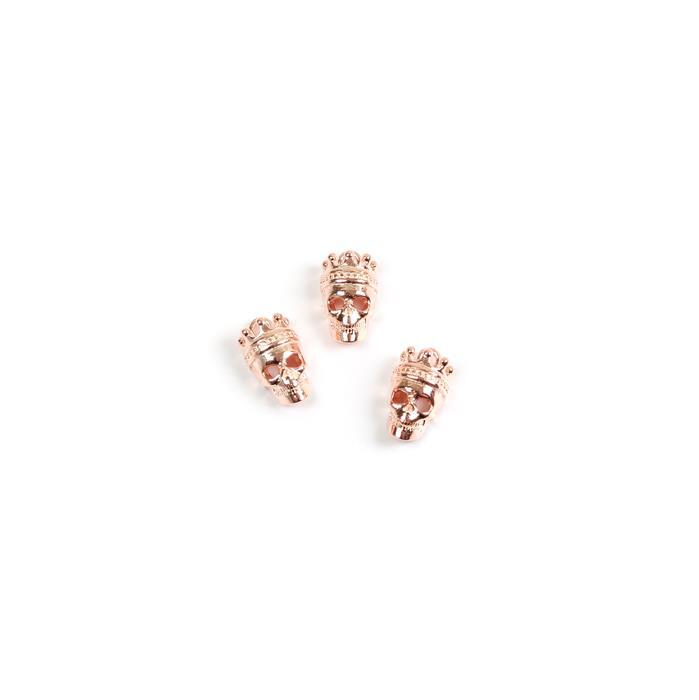 Rose Gold Plated 925 Sterling Silver Crown Skull Charms Approx 10x6mm, 3pk