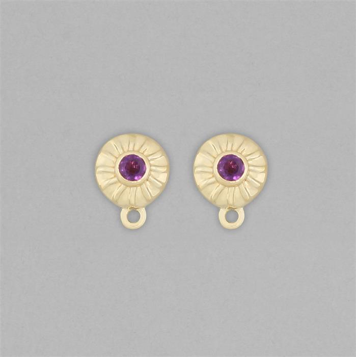 Gold Plated 925 Sterling Silver Stud Earrings with Loops Approx 11x8mm Inc. 0.20cts Amethyst Round Approx 3mm