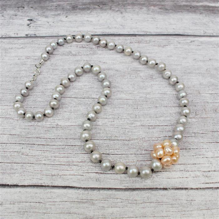 Silver Linings INC Pink Freshwater Pearls, Silver Freshwater Near Round Pearls & Silk