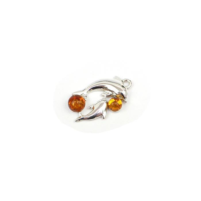 Baltic Cognac Amber Dolphins Charm Approx 20mm Sterling Silver