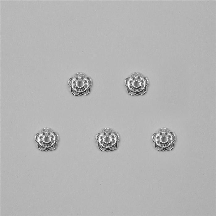 925 Sterling Silver Flower Bead Caps Approx 8mm, 10pcs