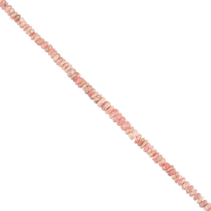 42cts Rhodochrosite Graduated Faceted Rondelles Approx 2x1 to 5x3mm, 18cm Strand.