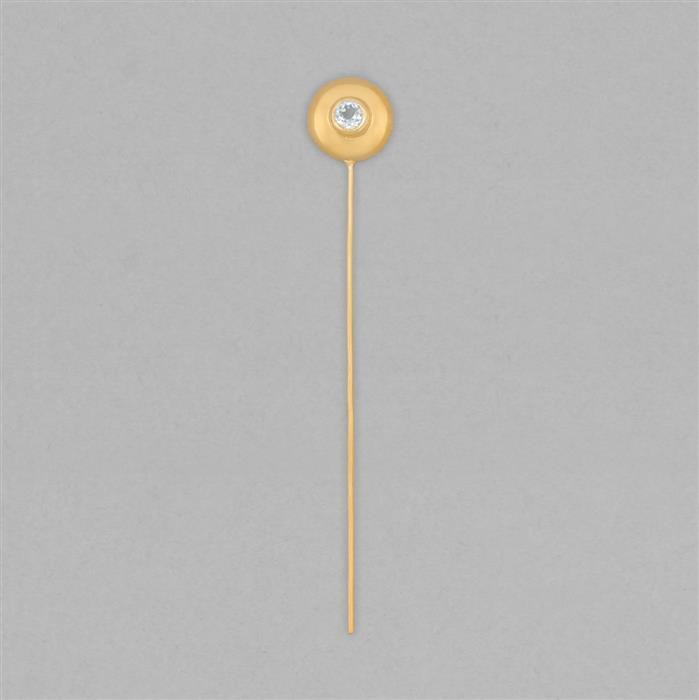 Gold Plated 925 Sterling Silver Gemset Birthstone Headpin Approx 59x9mm Inc. 0.16cts Sky Blue Topaz Round Approx 3mm
