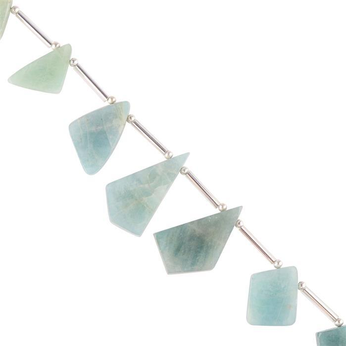 60cts Milky Aquamarine Graduated Plain Irregular Slices Approx 13x10 to 27x14mm, 8cm Strand.