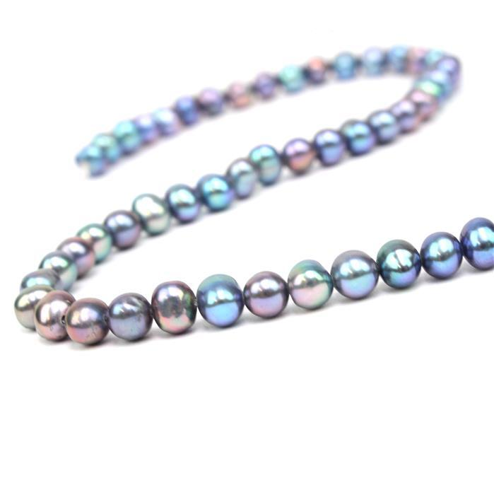 Peacock Freshwater Cultured Potato Pearls Approx 4x5mm, 38cm Strand