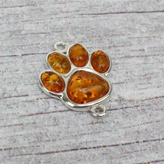 Sterling Silver Baltic Cognac Amber Paw Print Connector, Approx 18x21mm