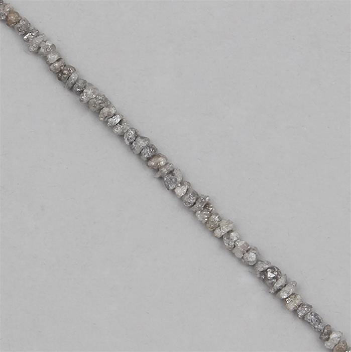 8cts Silver Diamond Graduated Small Rough Nuggets Approx 1x1 to 3x1mm, 15cm Strand.