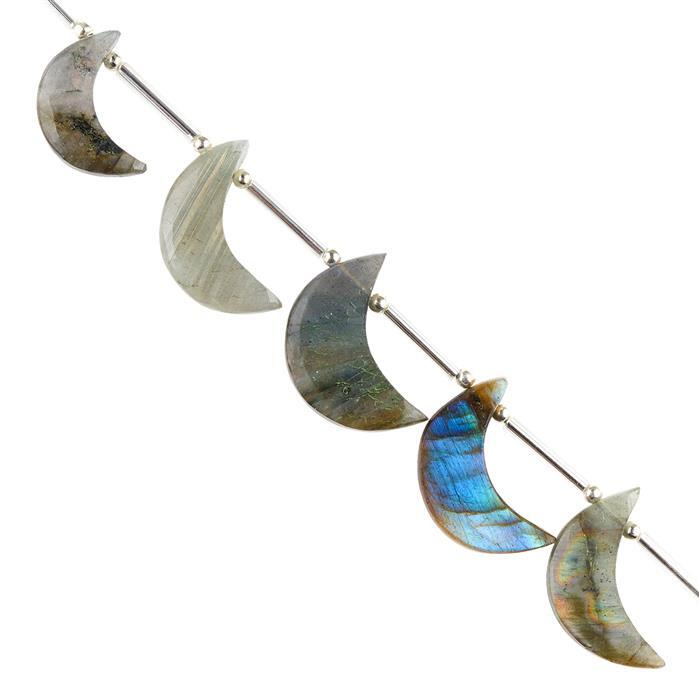 45cts Labradorite Graduated Plain Crescent Moon Shapes Approx 17x6 to 22x8mm, 8cm Strand.