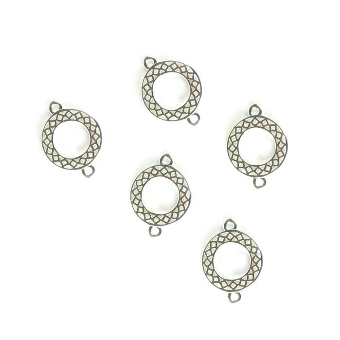 925 Sterling Silver Cutout Connectors Approx 10mm, 5pcs