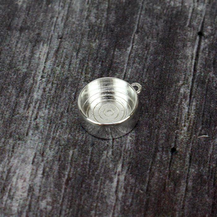 925 Sterling Silver Stone Bezel Charm Approx 14x12mm,1pcs