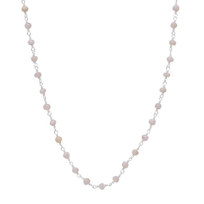 1m 925 Sterling Silver Gemstone Chain Inc. 20cts Opal Faceted Rondelles Approx 3x2mm