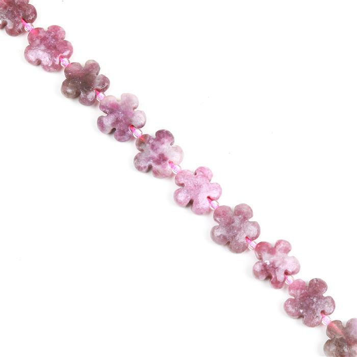 220cts Zoisite Five-Petal Flower Appox 15mm, 27pcs/strand