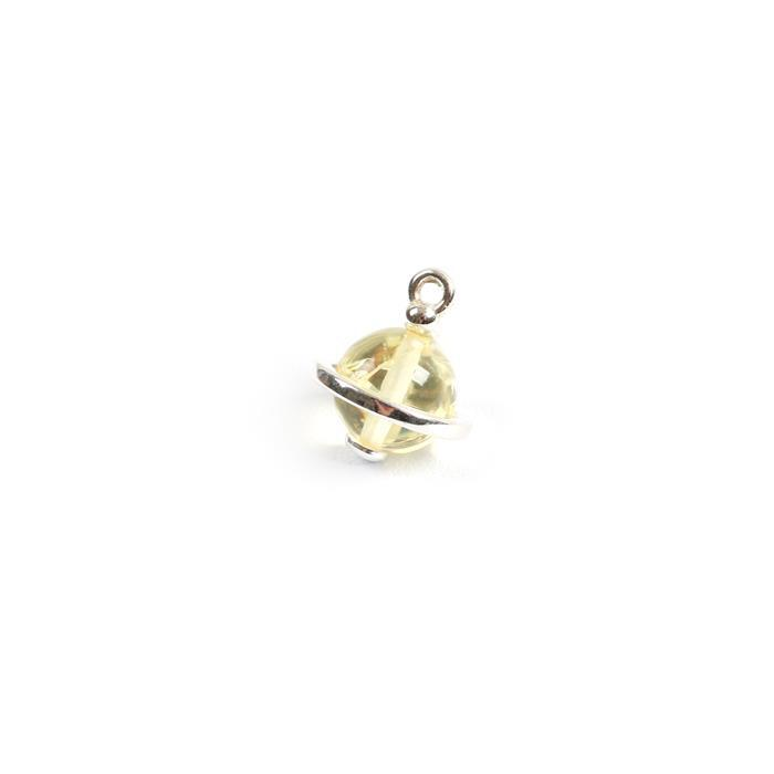 Baltic Lemon Amber Globe Charm, Sterling Silver, Approx 15x13mm