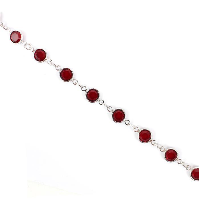 Swarovski 90005 Rhodium Plated Siam Channel Chain Approx 50cm Long