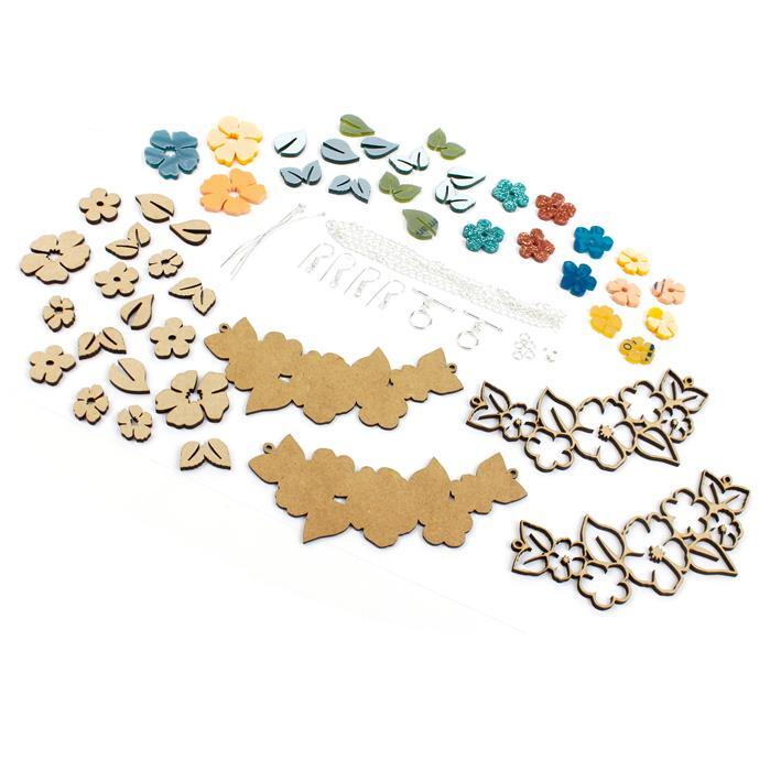 Interlocking Flower Garlands: MDF & Acrylic Sets in Turquoise, Lemon & Blue & Findings