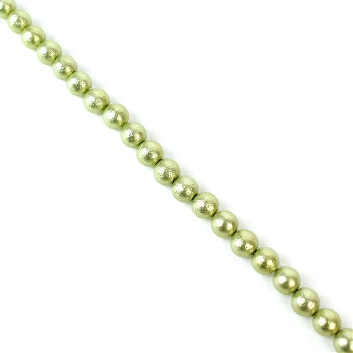 Pastel Green Textured Shell Pearl Plain Rounds Approx 6mm, 38cm length