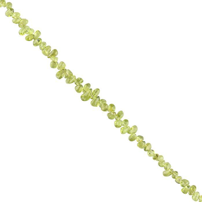 65cts Peridot Plain Irregular Drops Approx 5x2 to 7x3mm, 30cm Strand.