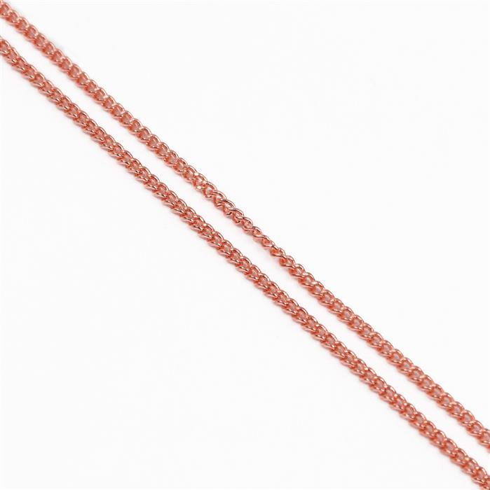 3m Rose Gold Plated Brass Curb Chain 1x1.6mm