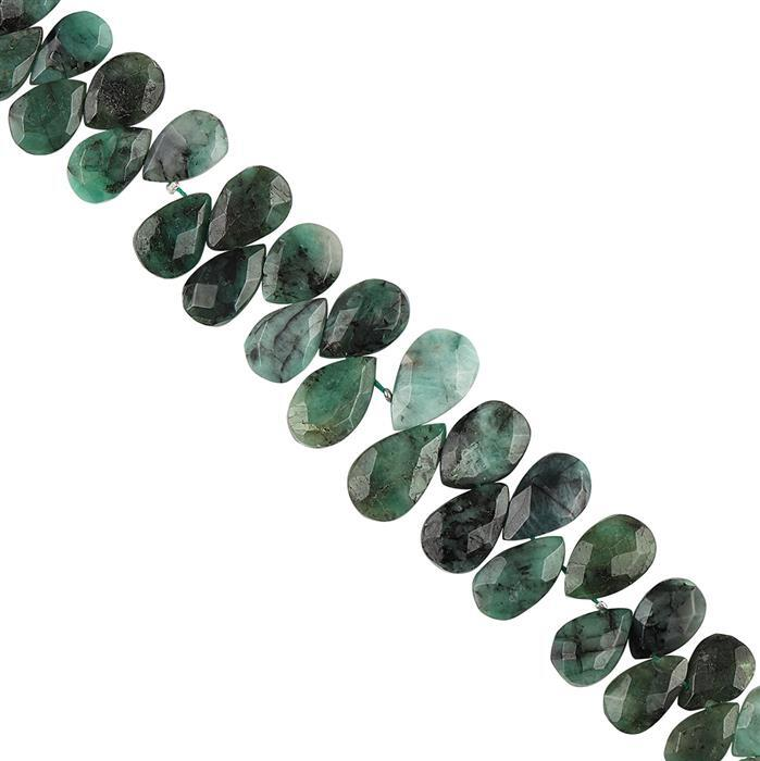 118cts Emerald Graduated Faceted Pears Approx 9x5 to 14x9mm, 16cm Strand.