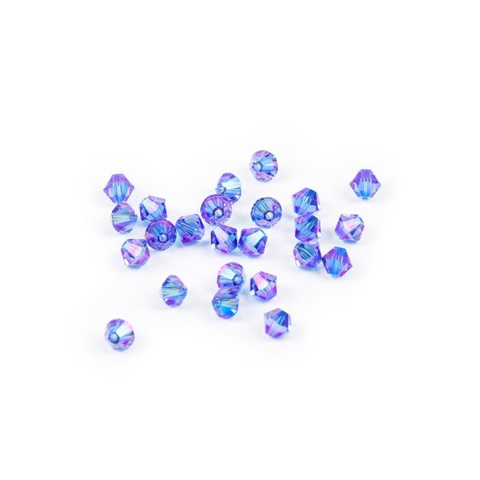 Swarovski Crystal Beads - Pack of 24 Bicone 5328 - 6mm Sapphire Shimmer 2x