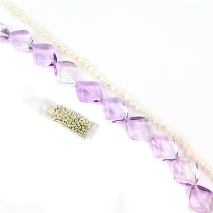 Summer Bouquet: Czech Glass Diamond Violet Beads, 1m Pearl nuggets,11/0s