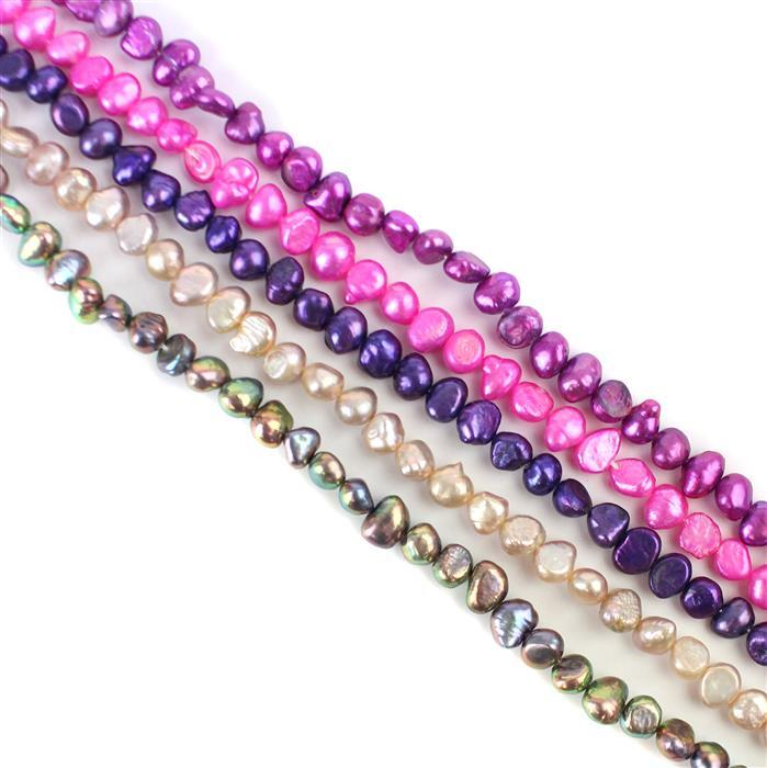 5m Metallic Pinks Freshwater Cultured Pearl Nuggets Bundle from Approx 5x6 to 5x9mm