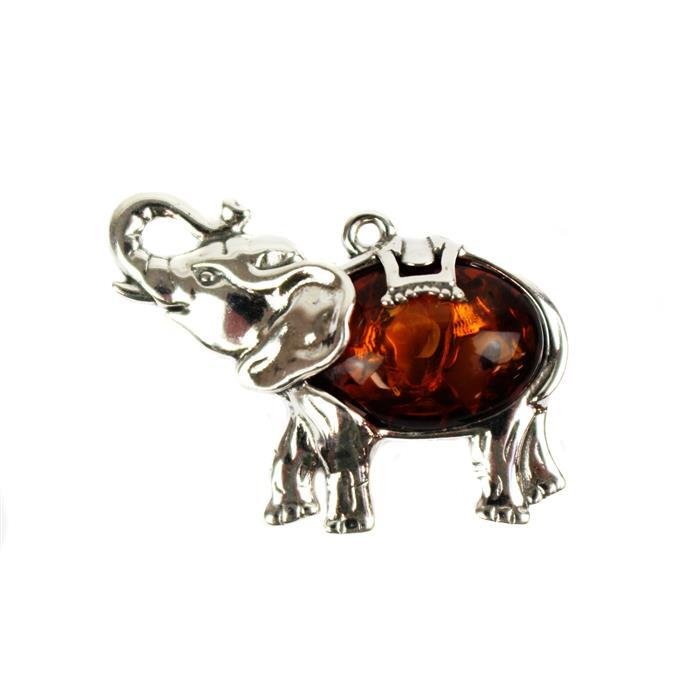 Baltic Cognac Amber Cabochon Oval Sterling Silver Elephant Element Approx 28x20mm