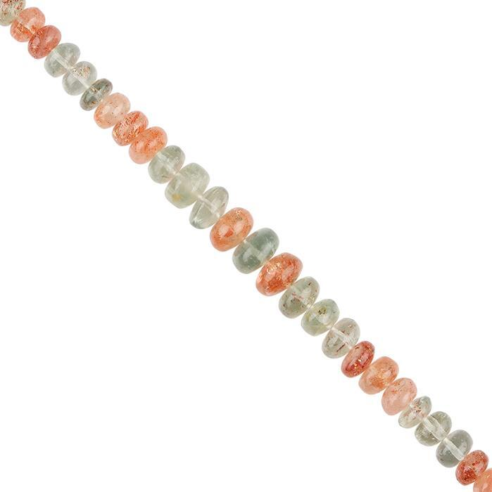 55cts Multi-Colour Sunstone Graduated Plain Rondelles Approx 6x3 to 8x5mm, 12cm Strand.