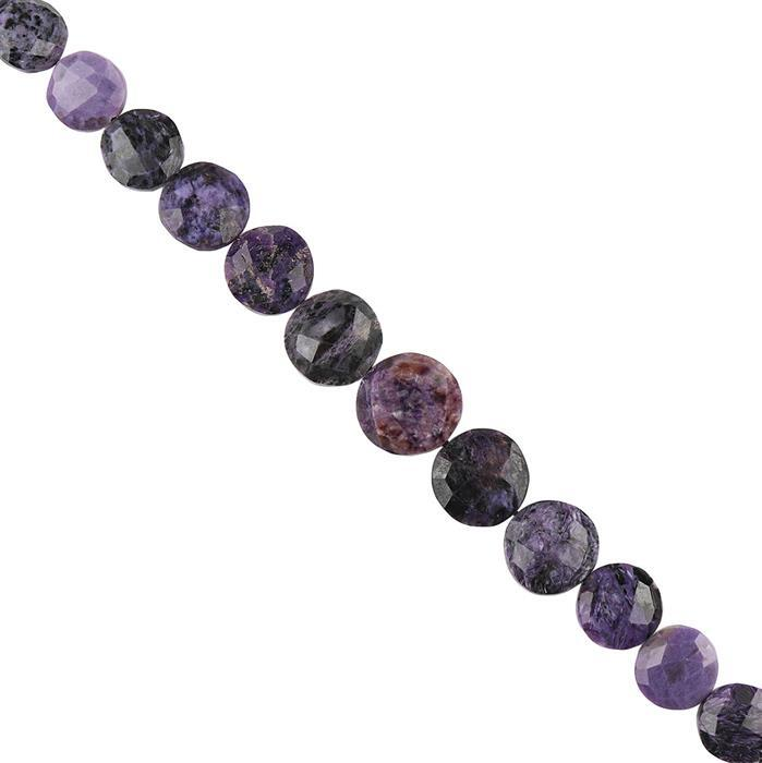 130cts Charoite Graduated Faceted Puffy Coins Approx 10 to 15mm, 18cm Strand.