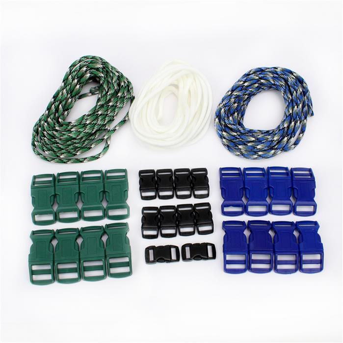 Forest: Black, Green & Blue Buckles & White, Green & Blue Paracord for great makes!