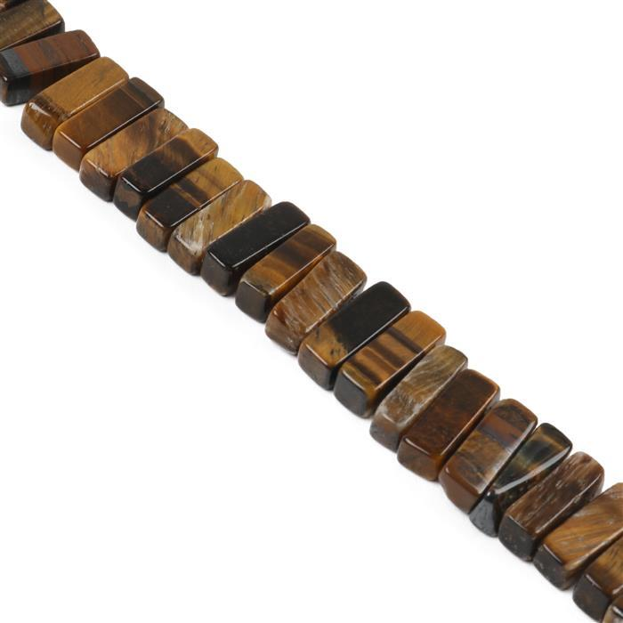 360cts Yellow Tigers Eye Bars Approx 16x5mm, Approx 38cm Strand