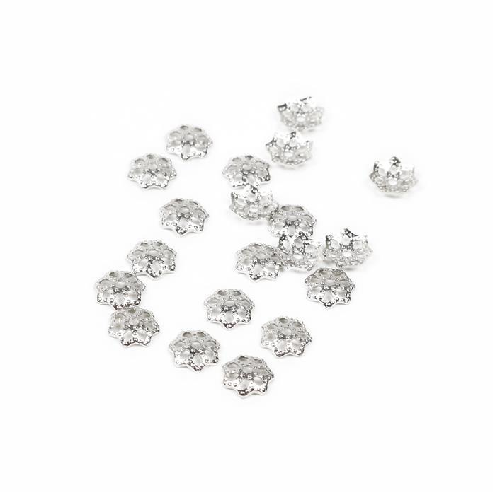 Silver Plated Alloy Carved Star Caps - 5mm (20pcs/pk)