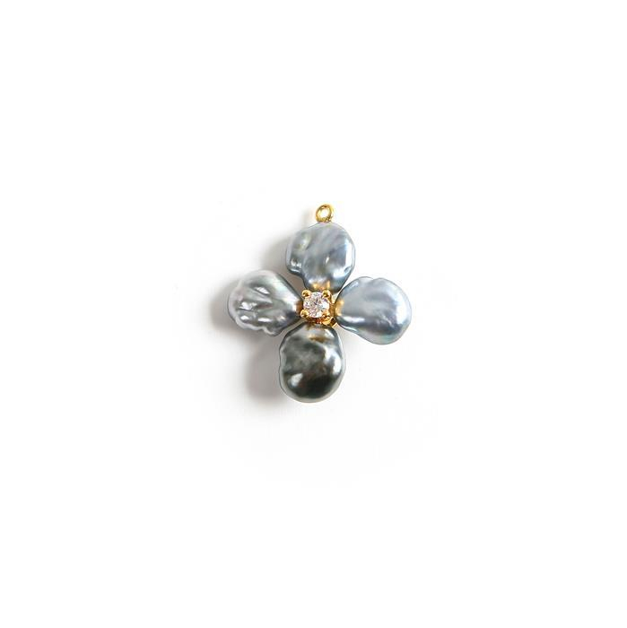 Gold Plated 925 Sterling Silver Pendant With Tahitian Keshi Pearl and Cubic Zirconia Approx 15mm