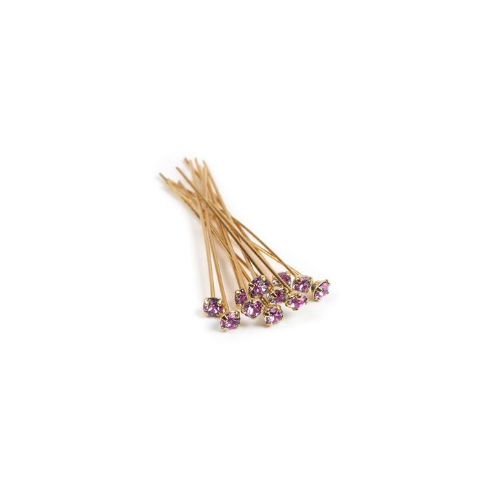 Swarovski Headpin 17704 Light Amethyst with Gold Plating, PP24, 0.05x3.81cm, 12pk