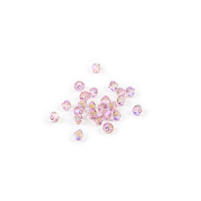 Swarovski Crystal Beads - Pack of 24 Bicone 5328 - 4mm Light Rose Shimmer 2x