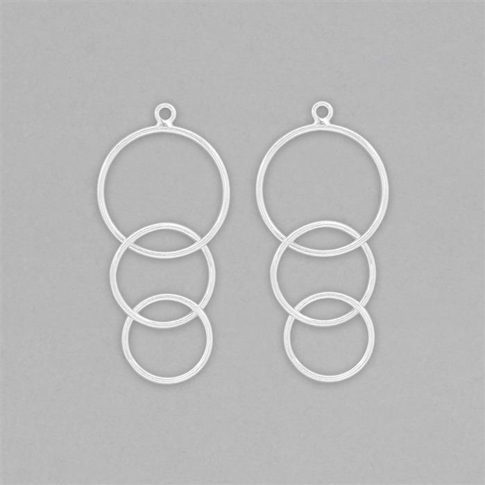 925 Sterling Silver Encircle Earring Finding - 42x18mm (1pair)