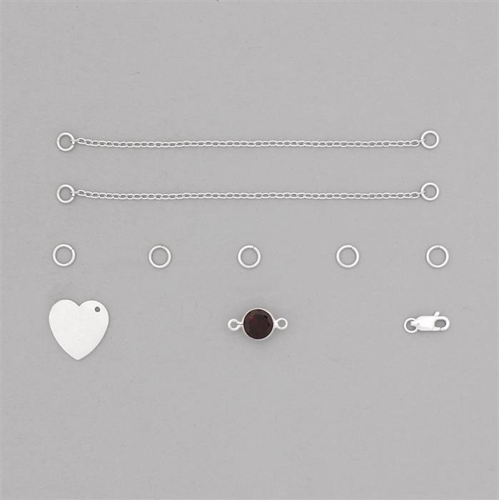 Birthstone Kit: 925 Sterling Silver Bracelet Kit Inc. 2.24cts Garnet Brilliant Round Approx 8mm (10pcs)