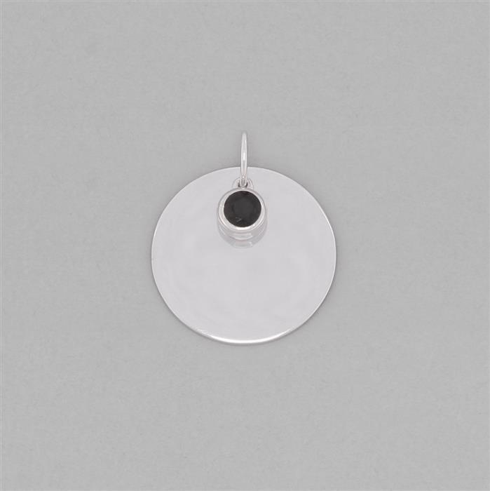 925 Sterling Silver Round Tag Charm Approx 28x24mm Inc. 0.65cts Black Spinel Brilliant Round Approx 5mm