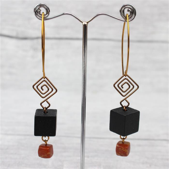 Earthy; Black Wooden, 116cts Tiger Eye & 85cts Mookite Cubes, Jump Rings & Wire