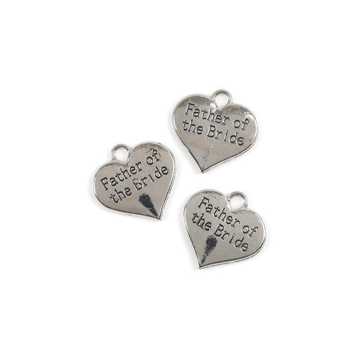 Silver Colour Heart Charms Engraved With Father of the Bride Approx 3cm 3pk