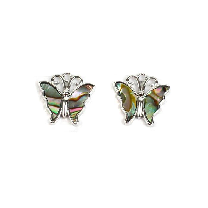 Rhodium Plated 925 Sterling Silver Butterfly Charms With Abalone Approx 15mm (2pcs)