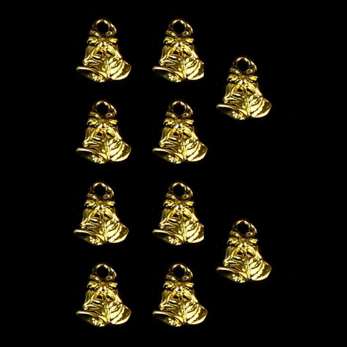 Gold Colour Base Metal Bells Charms Approx 12x10mm (10pcs)