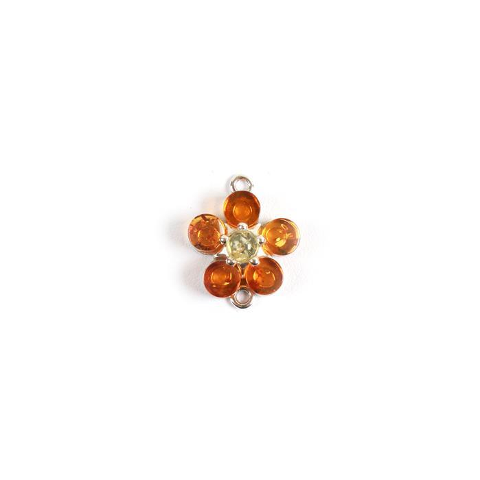 Baltic Cognac and Lemon Amber Flower Connector ,Sterling Silver, Approx 18x15mm