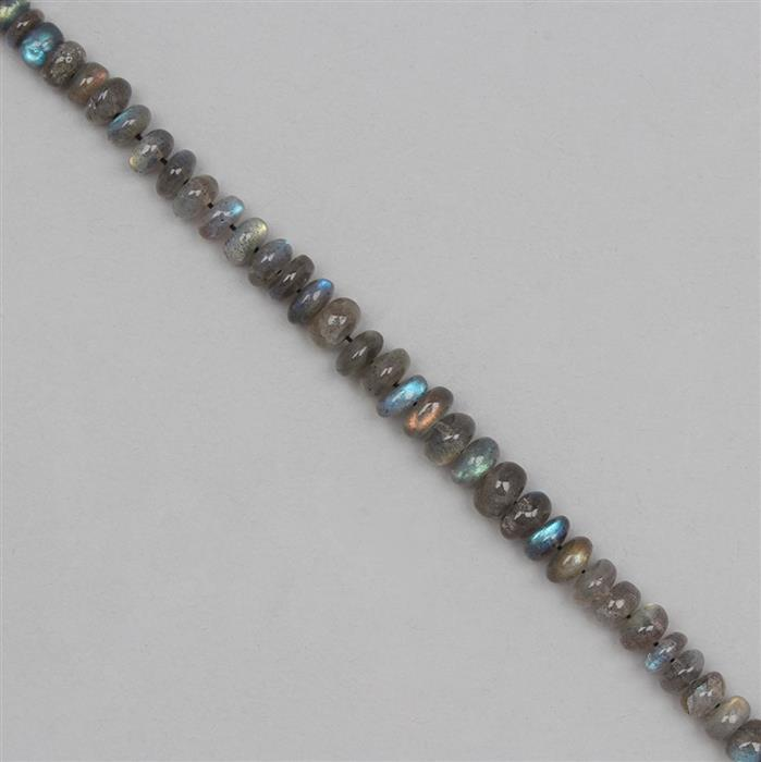 90cts Labradorite Graduated Plain Rondelles Approx From 6x2 to 7x3mm, 24cm Strand.