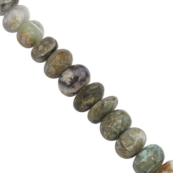 110cts Peruvian Opal Faceted Rondelles Approx 6x4 to 7x4mm, 20cm Strand