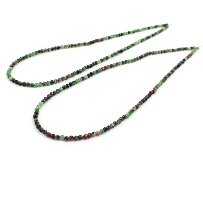 Double Trouble! 2x 25cts Ruby Zoisite Micro Faceted Rounds Approx 3mm, 38cm Strand.