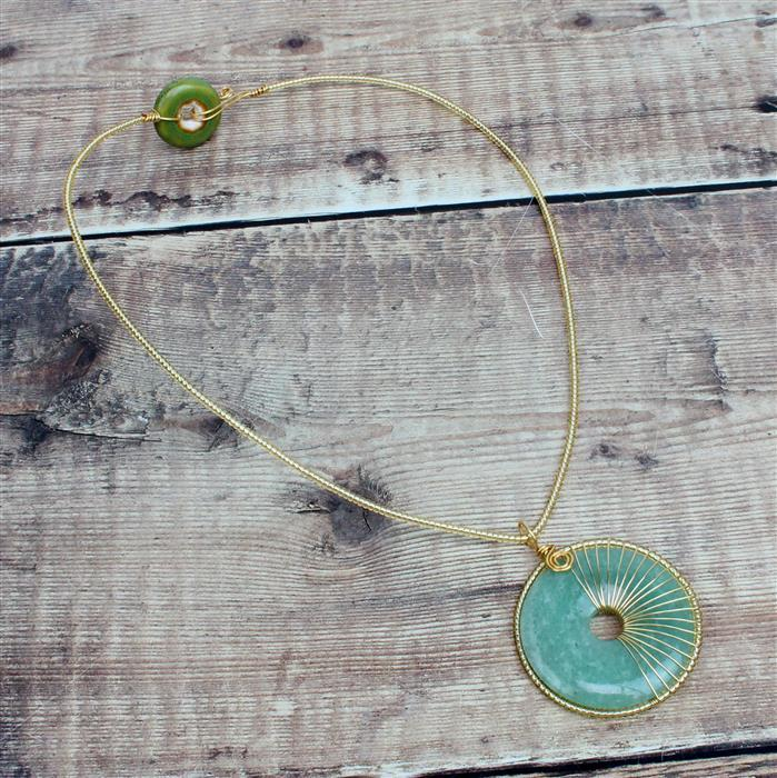 Donut Worry, Be Happy INC Blue & Green Dount Beads, Aventurine Donut Pendant & Gold Wire