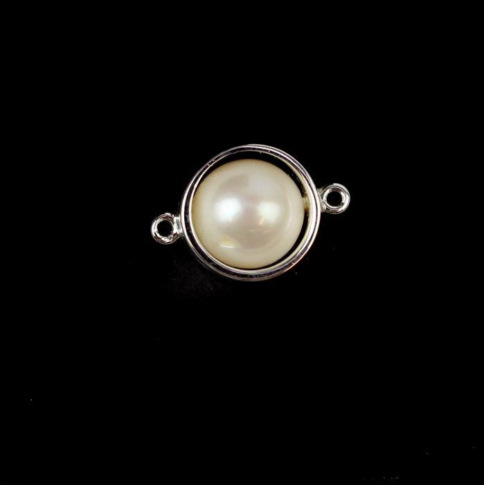 Sterling Silver Hoop Connector with Freshwater Cultured Pearl Approx 10X15mm 1pc